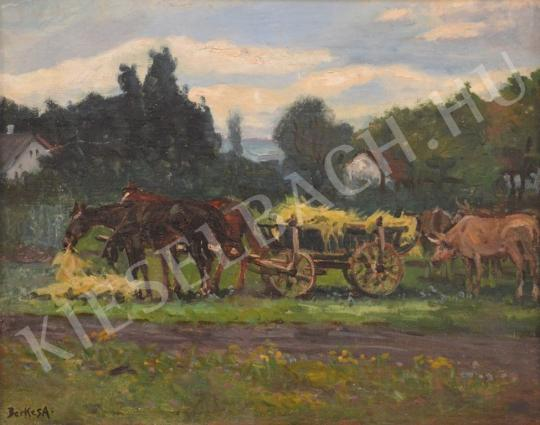 For sale  Berkes, Antal - Hay Wagon with horses 's painting