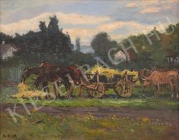 Berkes Antal - Szénáskocsi lovakkal