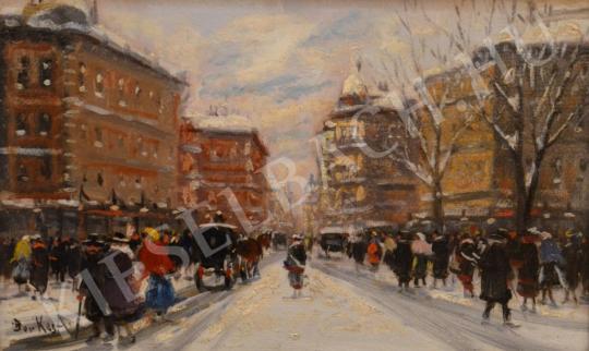 Eladó  Berkes Antal - Nagyvárosi sugárút hóolvadáskor festménye