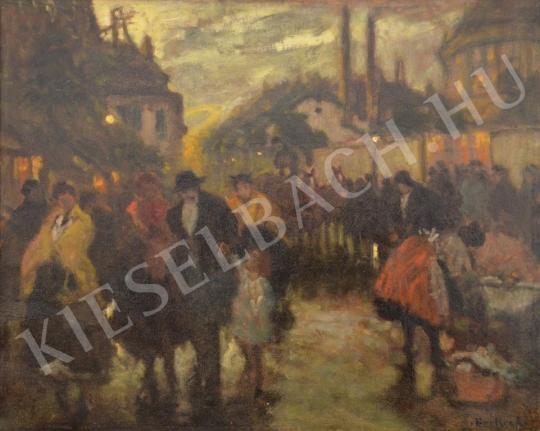 Eladó  Berkes Antal - Esti forgatag a városban festménye