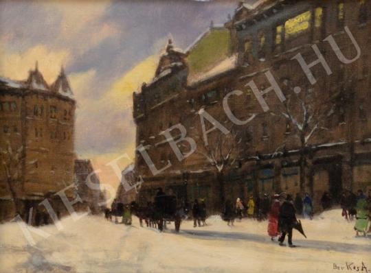 For sale  Berkes, Antal - Snowy Pest Square 's painting