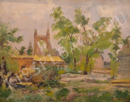 For sale Szegedi Molnár, Géza - The Bombarded Erzsébet Bridge after World War II 's painting