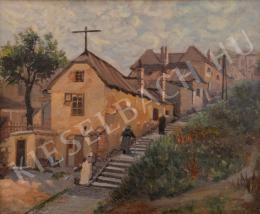 20. századi magyar festő - Lépcső a házak mellett