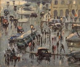 Ismeretlen osztrák művész - Párizsi utcarészlet (Place de la Theatre francais)