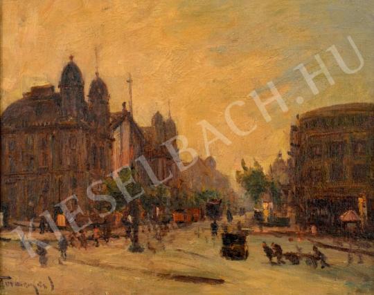 Turmayer Sándor - A Nyugati tér a Nyugati pályaudvarral és az Ilkovits-csal festménye