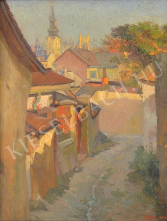 Eladó  Szász Jenő - Tabáni utca az Erzsébet-híddal festménye