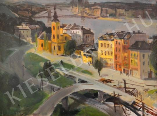 For sale id. Keleti, Jenő - The new Erzsébet Bridge in Constrution 's painting