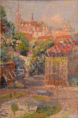 Unknown Hungarian painter - Adam Clark Square with Mathias Church (c. 1965)