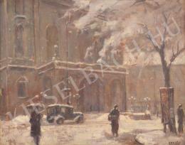 Guzsik Ödön - Hóesés az Operaház előtt (1930-as évek)