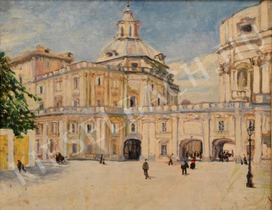 Eladó Ismeretlen magyar festő - A vatikáni palota részlete festménye