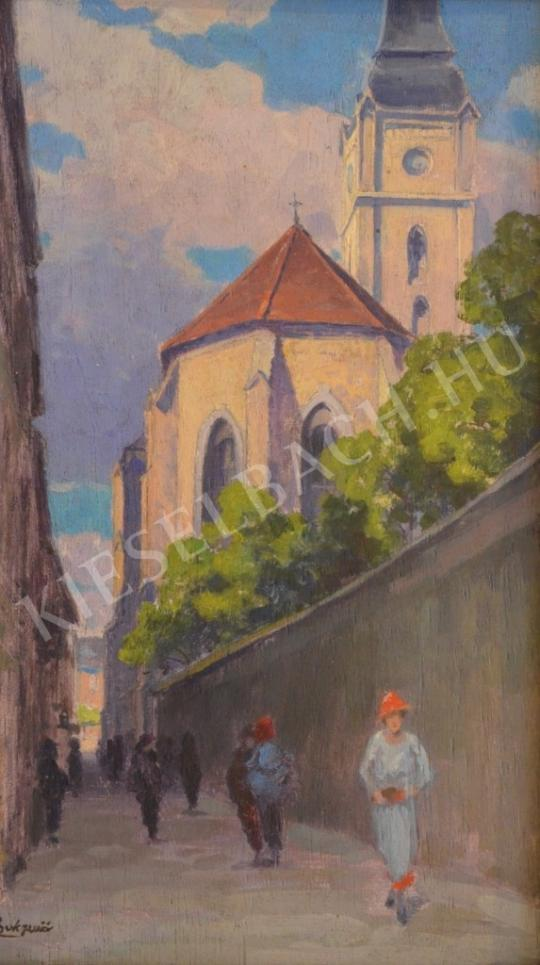 For sale Csuk, Jenő - Walking at the Church Garden 's painting