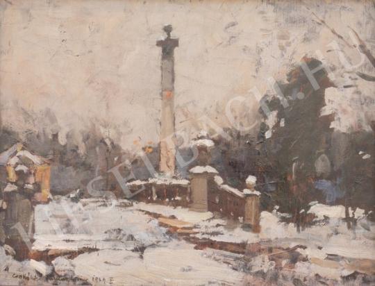 Eladó  Csallóközi Farkas Lőrinc - Kálvária oszloppal festménye