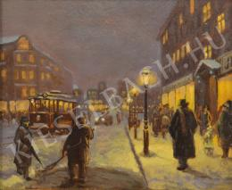 Unknown Hungarian painter - Enlighted Street of Pest (1930s)