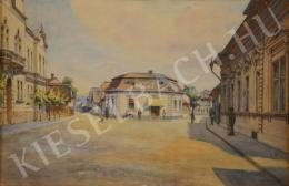 Unknown Hungarian painter - Provincial Square in Sunlight (1910s)