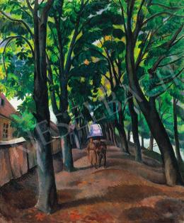 Tipary, Dezső - Wealking couple on the chestnut alley, 1910s