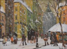 Czakó Rezső - Hóesés a pesti utcán
