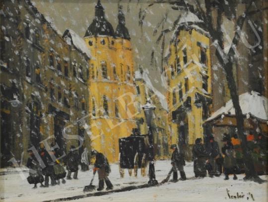 Eladó  Czakó Rezső - Hóesés a templom előtt festménye