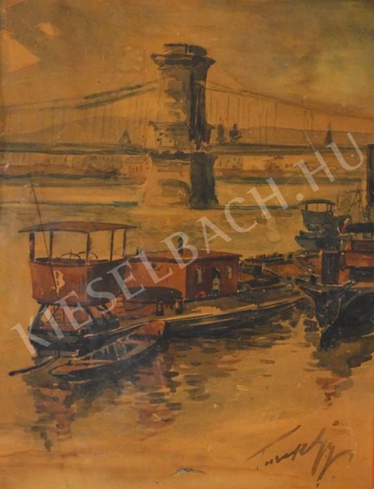 For sale  Turi-Jobbágy, József - Boats at the Lánchíd 's painting