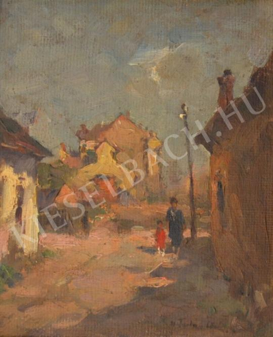 Eladó  Csallóközi Farkas Lőrinc - Tabáni utca anyával és gyermekével festménye