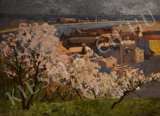 For sale Várady, Gyula - Flowering Trees at Gellért Hill (Lágymányos and the Danube) 's painting