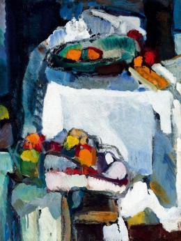 Gruber Béla - Csendélet tányérral, almával