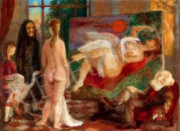 Szabó Vladimir - Festő műteremben (Léda a hattyúval)