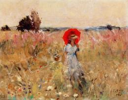 Erdélyi-Gaál, Ferenc (Francois Gall) - Woman with Parasol (Impressionist Mood) (1940)