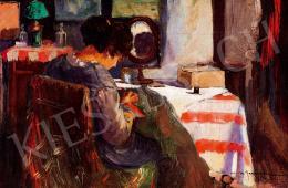 Georgescu, Marin H. - Hímző hölgy enteriőrben (1917)