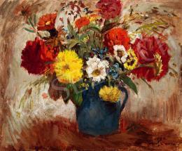 Iványi Grünwald, Béla - Still-life of Flowers with Blue Vase, 1932 (1932)