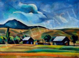 Csabai-Ékes Lajos - Dombos, felhős táj