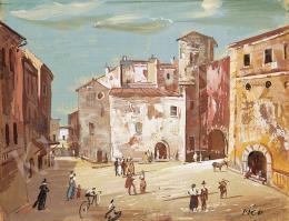 Molnár C. Pál - Itáliai város főtere