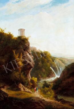 Telepy Károly - Vízesés Tivoliban a Vesta-templommal