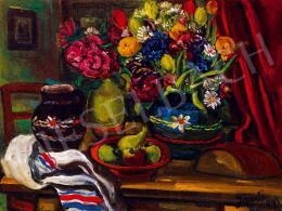 Jándi Dávid - Csendélet virágokkal, gyümölcsökkel
