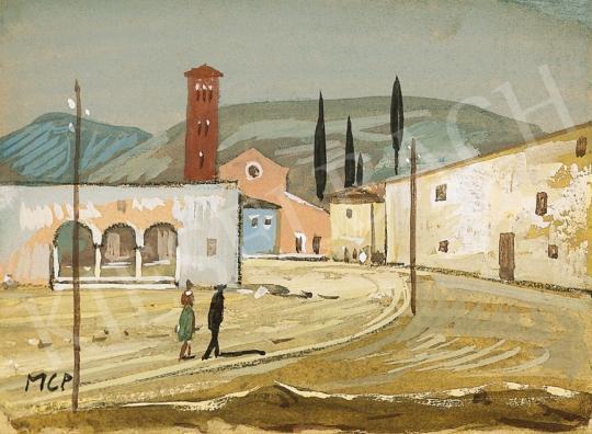 Molnár C. Pál - Itáliai táj harangtoronnyal | 16. Aukció aukció / 6 tétel