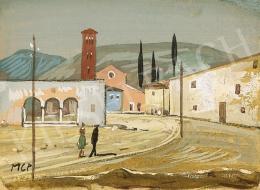 Molnár C. Pál - Itáliai táj harangtoronnyal