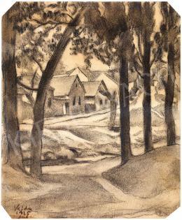 Vajda Lajos - Házsor fák között