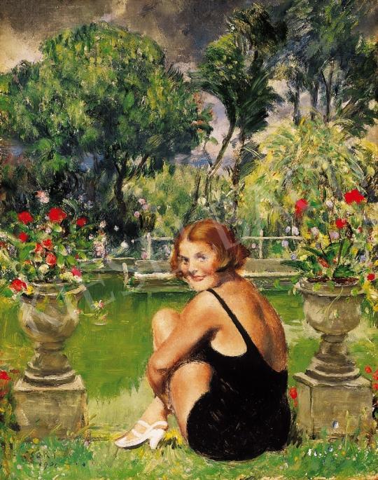 Csók István - Fürdőruhás nő parkban | 16. Aukció aukció / 28 tétel