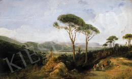 Signed F. Duclerc - Landscape with wanderers, 1854