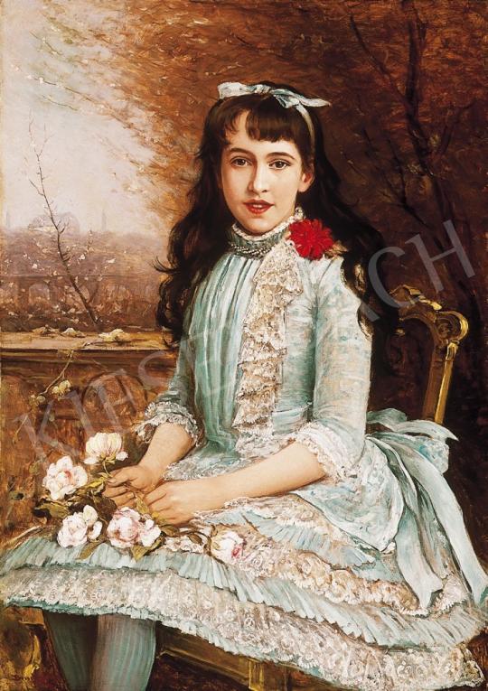 Bruck Lajos - Kékruhás lány rózsákkal | 16. Aukció aukció / 50 tétel