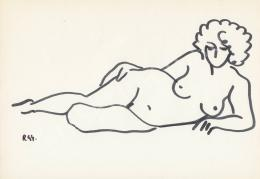 Rózsahegyi, György - Lying Nude Keeping her Hands on her Hip