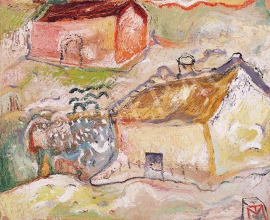 Tóth, Menyhért - Landscape with houses, about 1958 | 16th Auction auction / 103 Item