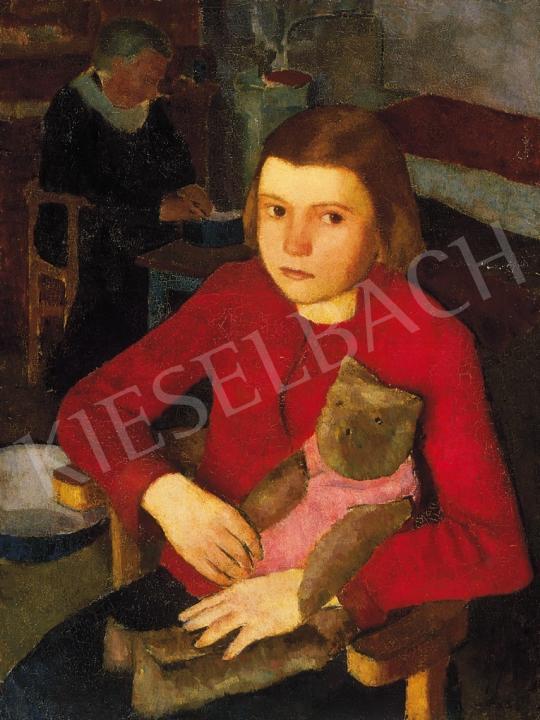 Hegedűs Endre - Kislány mackóval | 16. Aukció aukció / 129 tétel