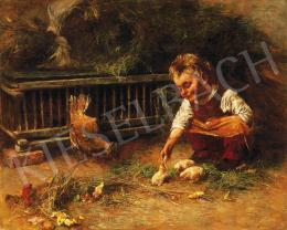 Peske Géza - Csibékkel játszó kislány, 1893