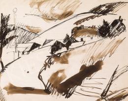 Tihanyi Lajos - Dombos táj házakkal