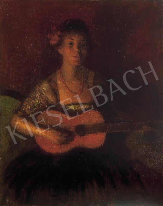 Herrer Cézár - Spanyol hölgy gitárral | 12. Aukció aukció / 7 tétel