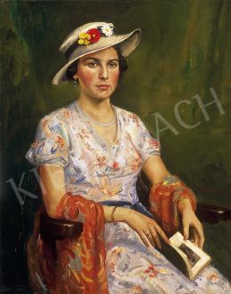Gachal József - Kalapos hölgy