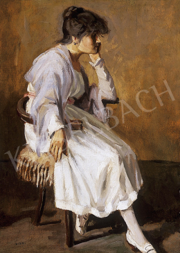 Viski, János - Woman in white dress sitting in an armchair