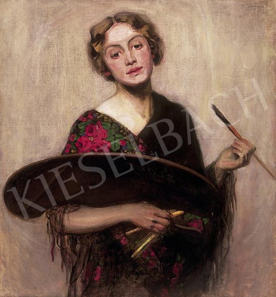 Ismeretlen festő - Festőnő palettával   12. Aukció aukció / 24 tétel