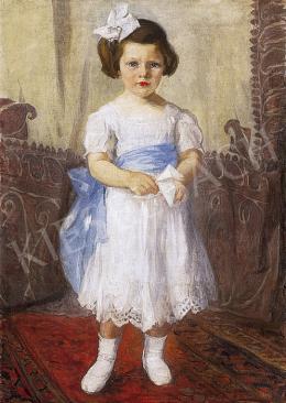Ismeretlen festő, 1912 körül - Kislány fehér ruhában