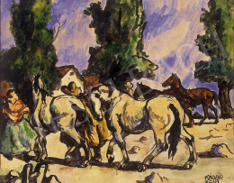 Kádár, Béla - Horses  returning home